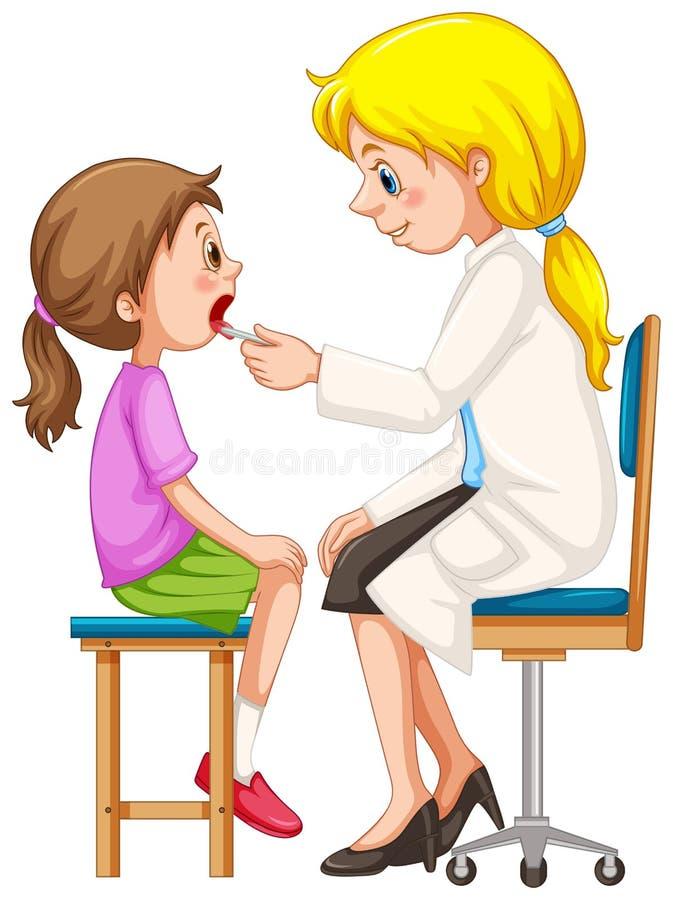Docteur vérifiant vers le haut de la fille illustration de vecteur