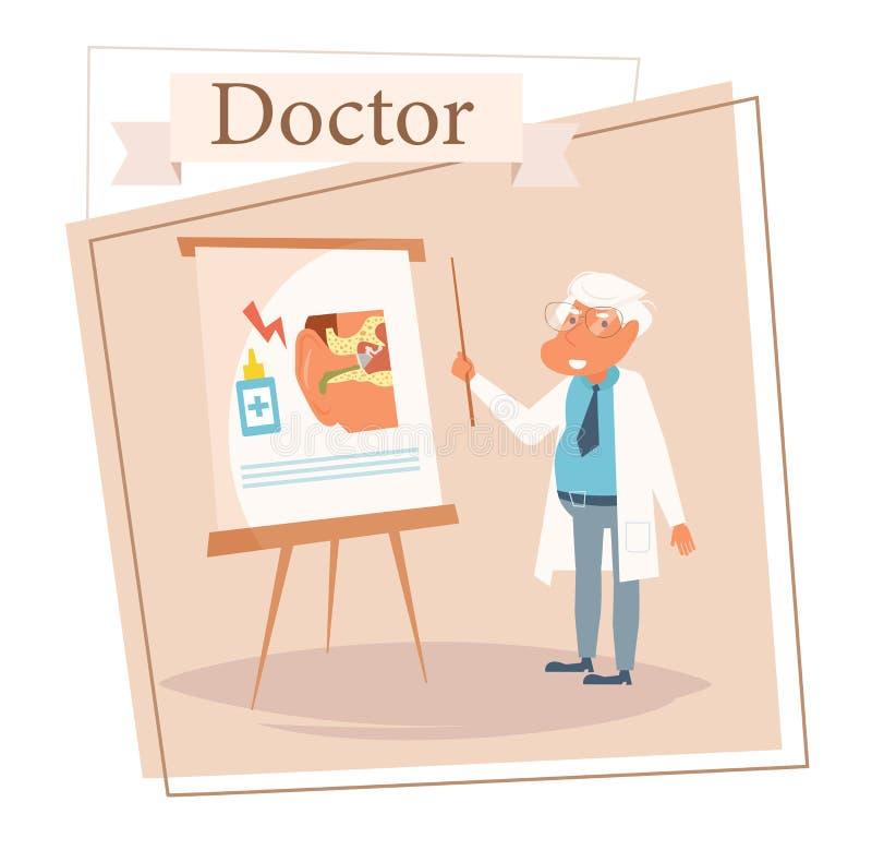 Docteur Vector cartoon Art d'isolement sur le fond blanc Oto-rhino-laryngologiste plat illustration stock