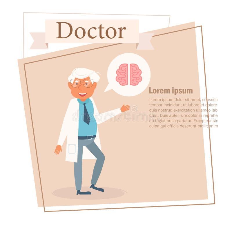 Docteur Vector cartoon Art d'isolement sur le fond blanc plat illustration libre de droits