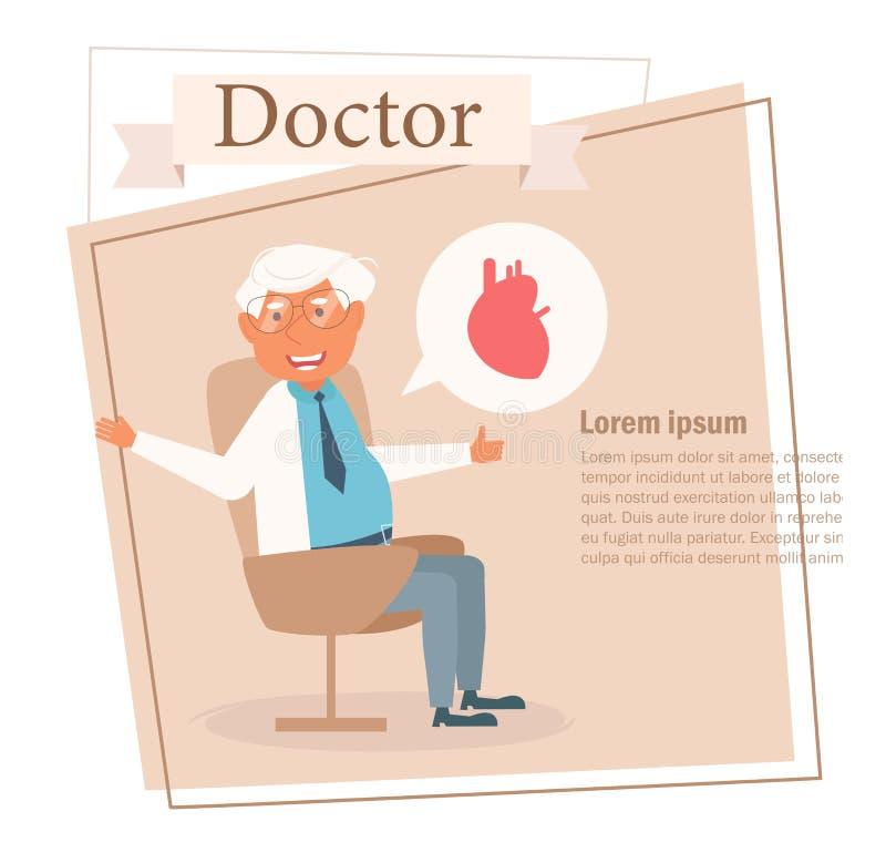 Docteur Vector cartoon Art d'isolement sur le fond blanc plat illustration stock
