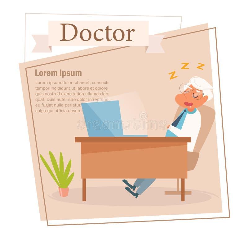 Docteur Vector cartoon Art d'isolement sur le fond blanc plat illustration de vecteur