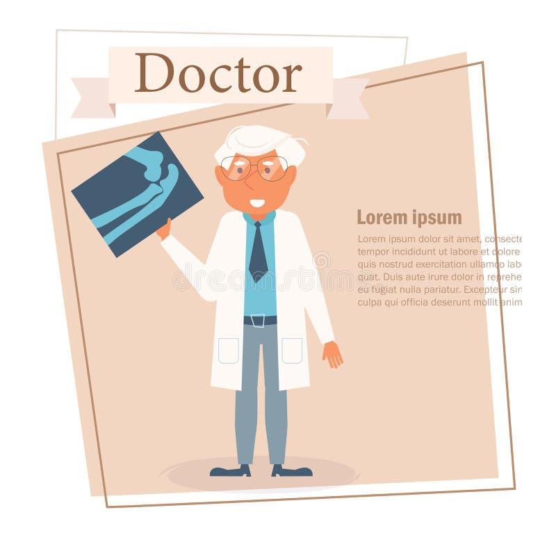 Docteur Vector cartoon Art d'isolement sur le fond blanc Rontgen plat illustration de vecteur