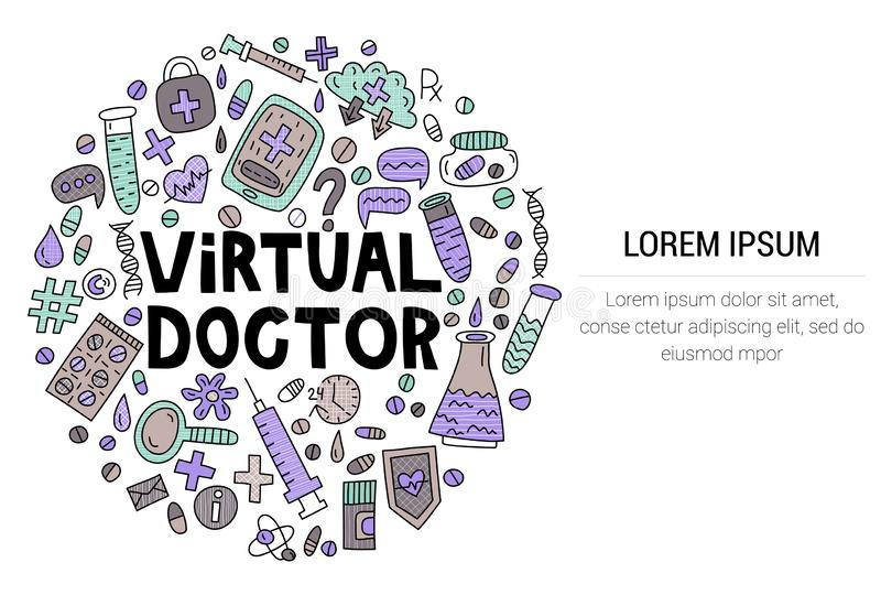 Docteur virtuel Inscription avec des griffonnages dans la forme de cercle photographie stock