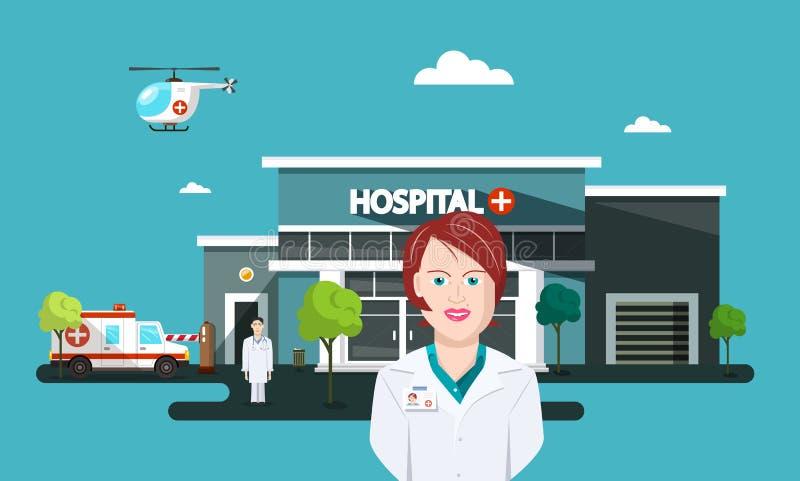 Docteur Woman avec la voiture d'hôpital et d'ambulance illustration libre de droits