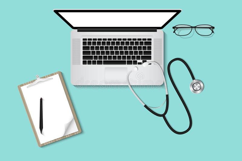 Doctor's tabellskrivbord med personlig utrustning , Sjukvård- och ockupationbegrepp royaltyfri illustrationer