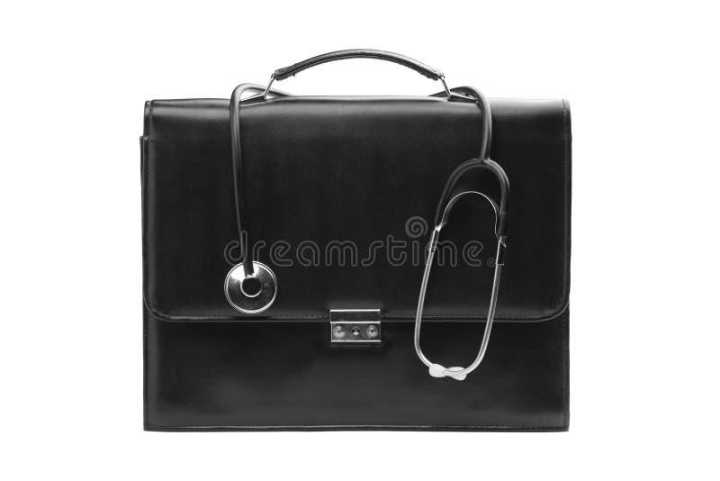 Doctorâs Fall mit einem Stethoskop lizenzfreie stockfotografie