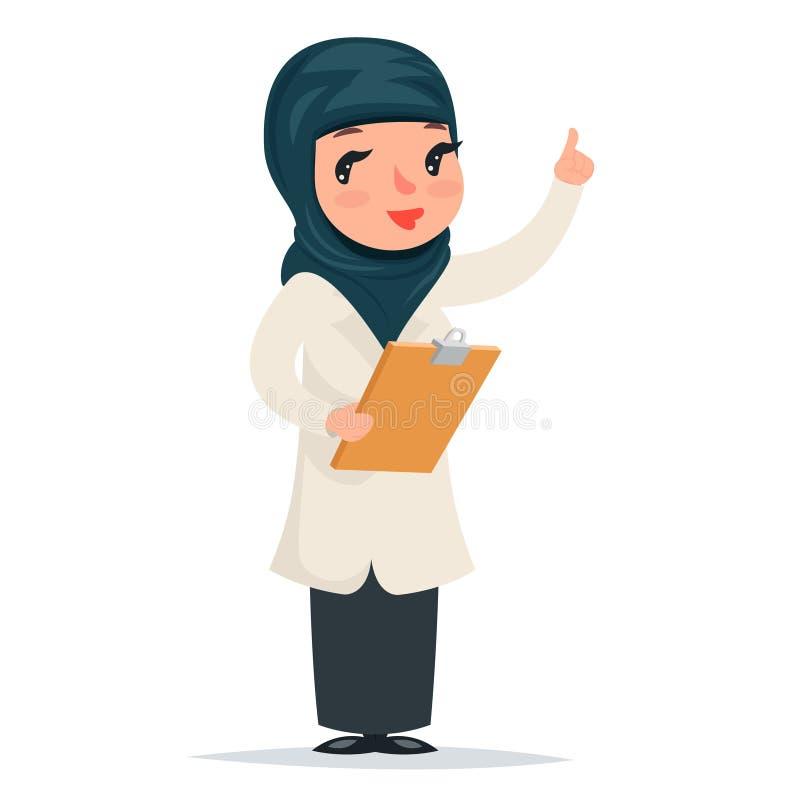 Doctor árabe lindo de la muchacha femenina con el tablero en índice de las manos encima del icono de predicación del carácter de  libre illustration