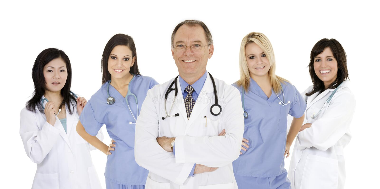 Download Group Of Confident Doctors And Nurses With Their Arms Crossed Displaying Some Attitude Isolated On White Background Stock Photo - Image of japanese, caucasian: 10258210