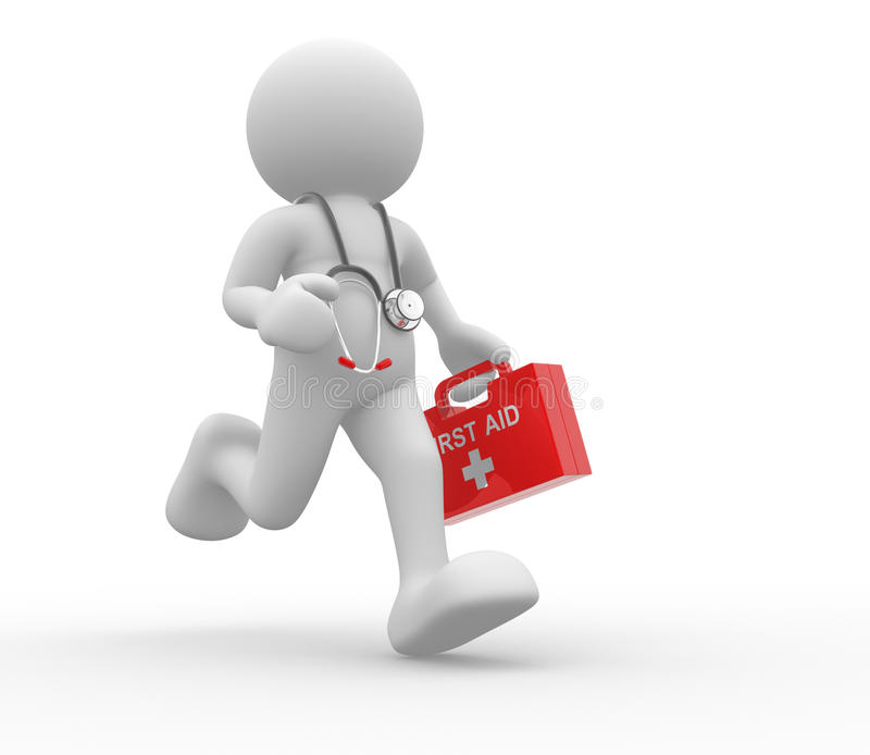 Doctor. 3d people - human character, person with first-aid and stethoscope. Doctor. 3d render vector illustration