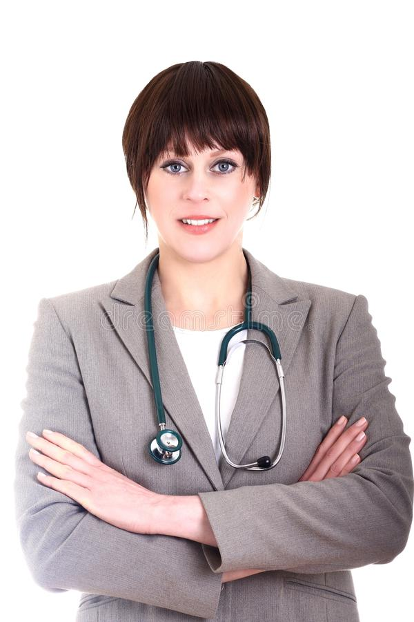 Folded arms. Image of a young doctor with her arms folded stock photos
