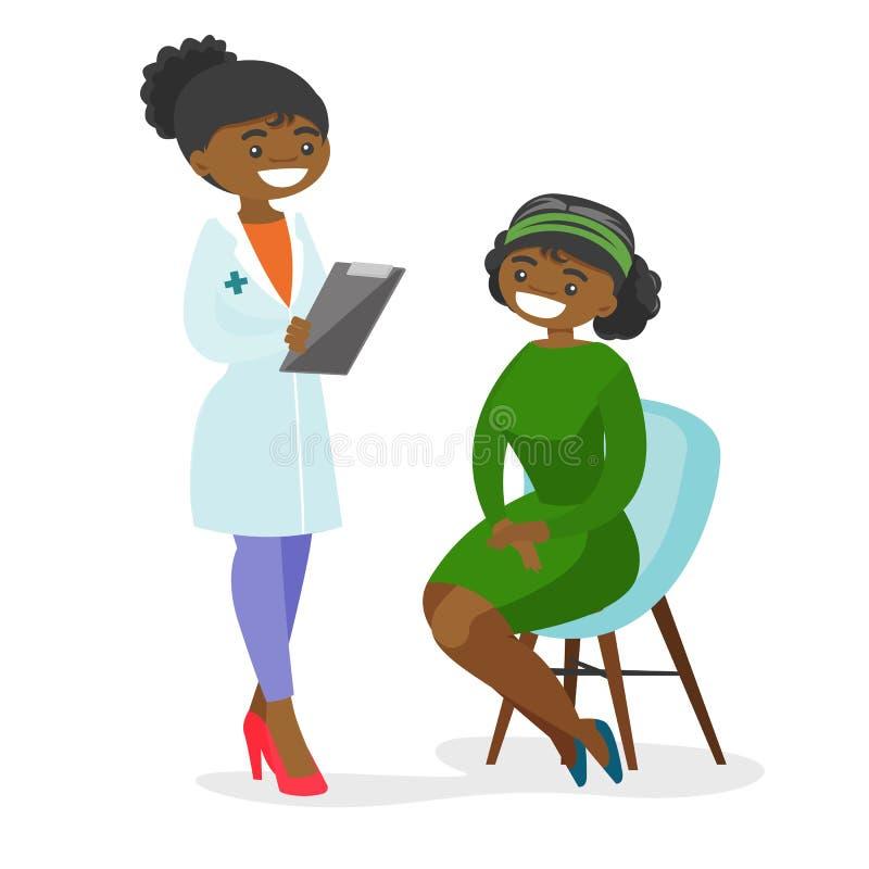 Doctor afroamericano joven que consulta a un paciente libre illustration