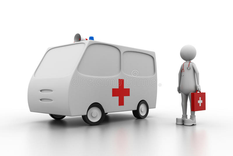 Doctor with ambulance stock illustration