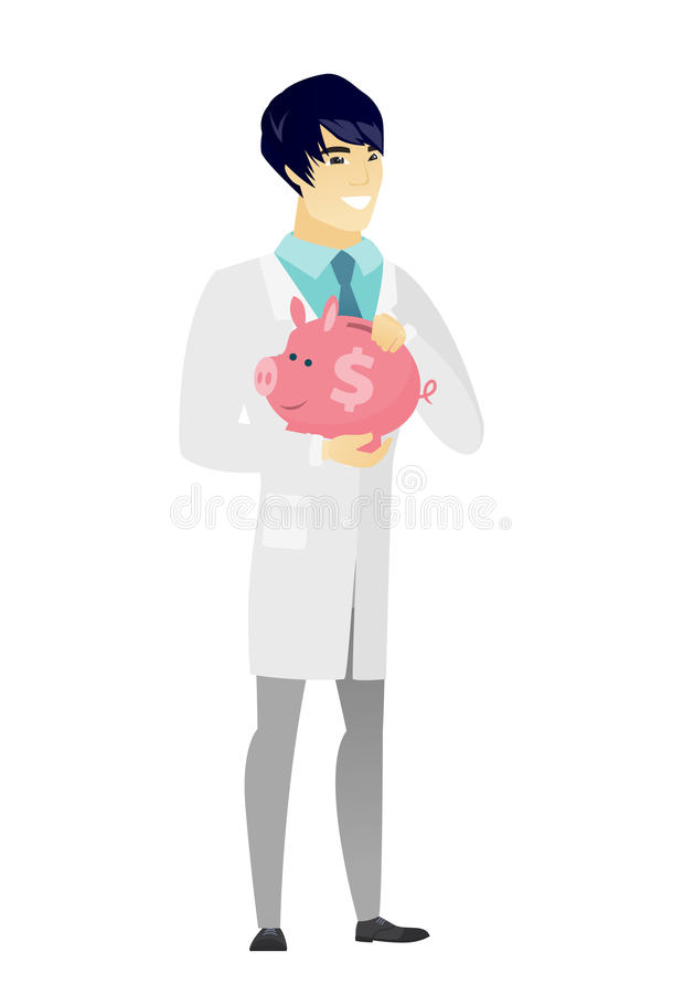 Doctor asiático que sostiene una hucha libre illustration