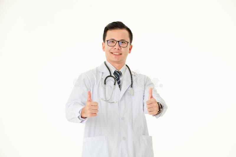 Doctor asi?tico en fondo blanco aislado foto de archivo libre de regalías