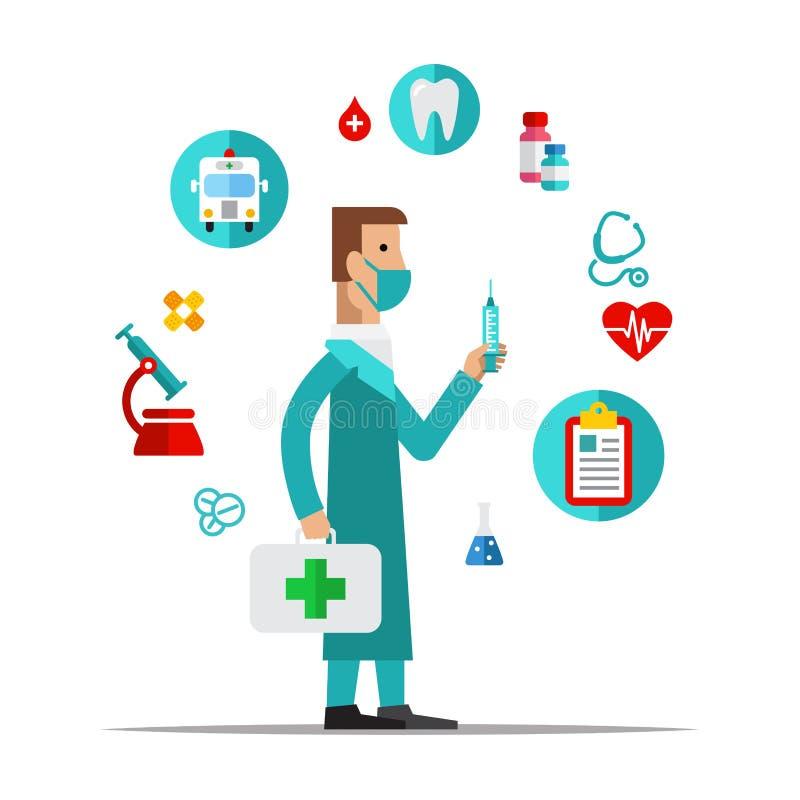 Doctor, atención sanitaria, artículos médicos Estilo plano ilustración del vector
