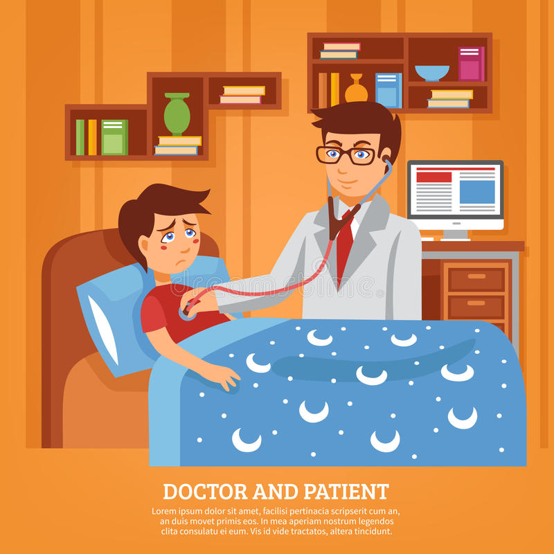 Doctor Attending Patient Home Flat Illustration. Doctor practitioner in white coat with stethoscope attending sick schoolboy at home poster flat abstract vector illustration