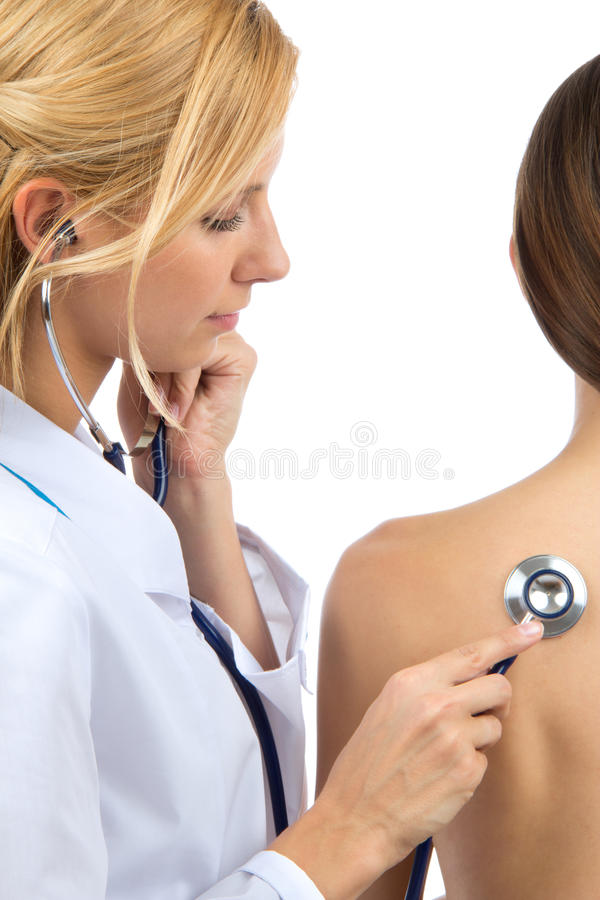 Download Doctor Auscultating  Patient By Stethoscope Stock Image - Image of appointment, back: 24890105