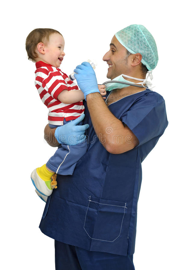 Doctor and baby stock image