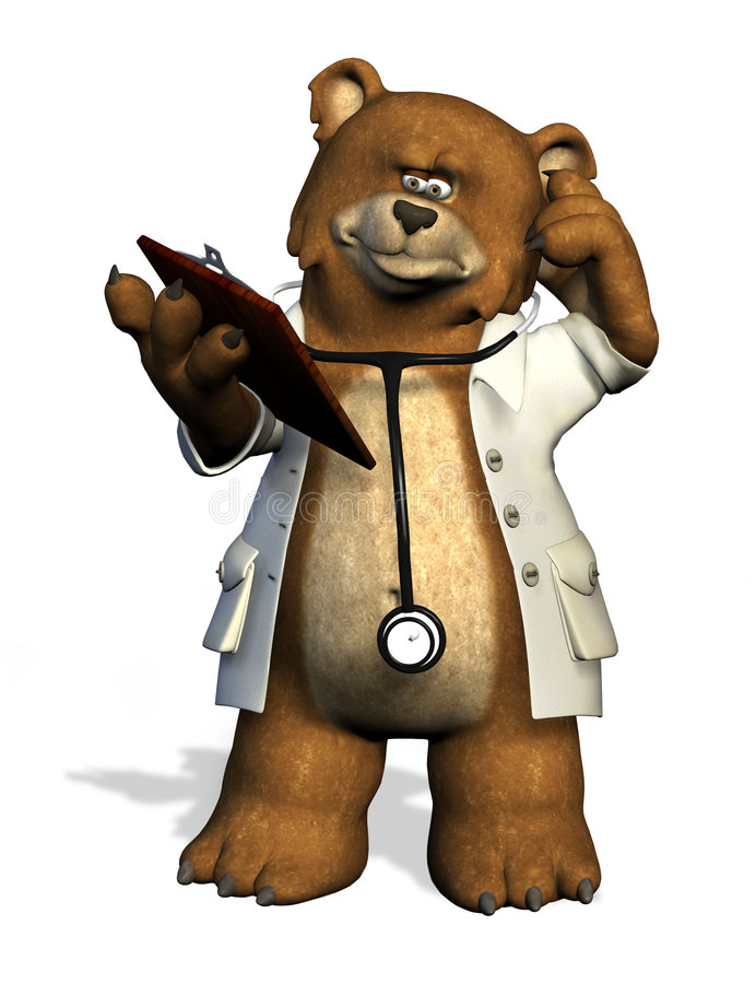 Doctor Bear - with clipping path royalty free stock images