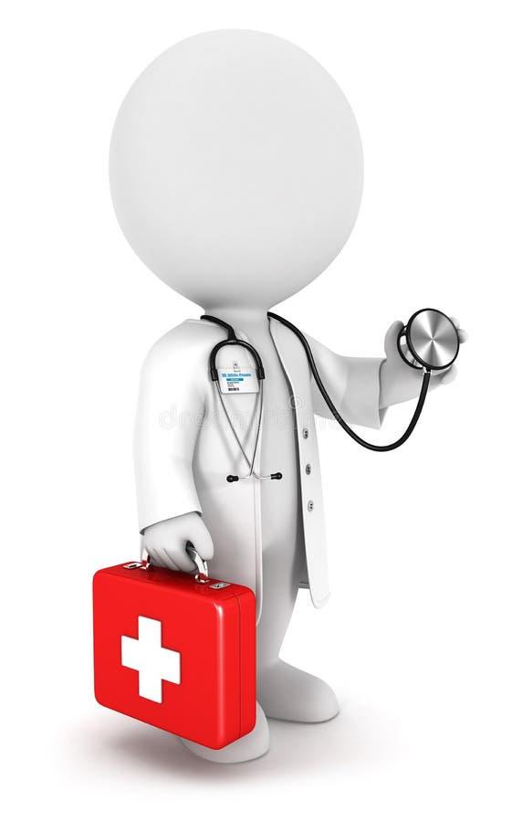 doctor blanco de la gente 3d ilustración del vector