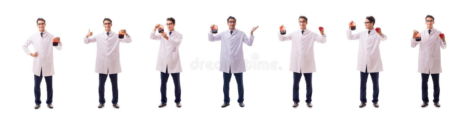 The doctor in blood donation concept isolated on white royalty free stock photography