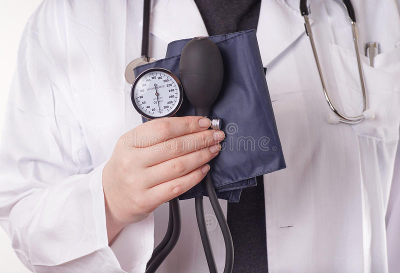 Doctor and blood pressure stock image