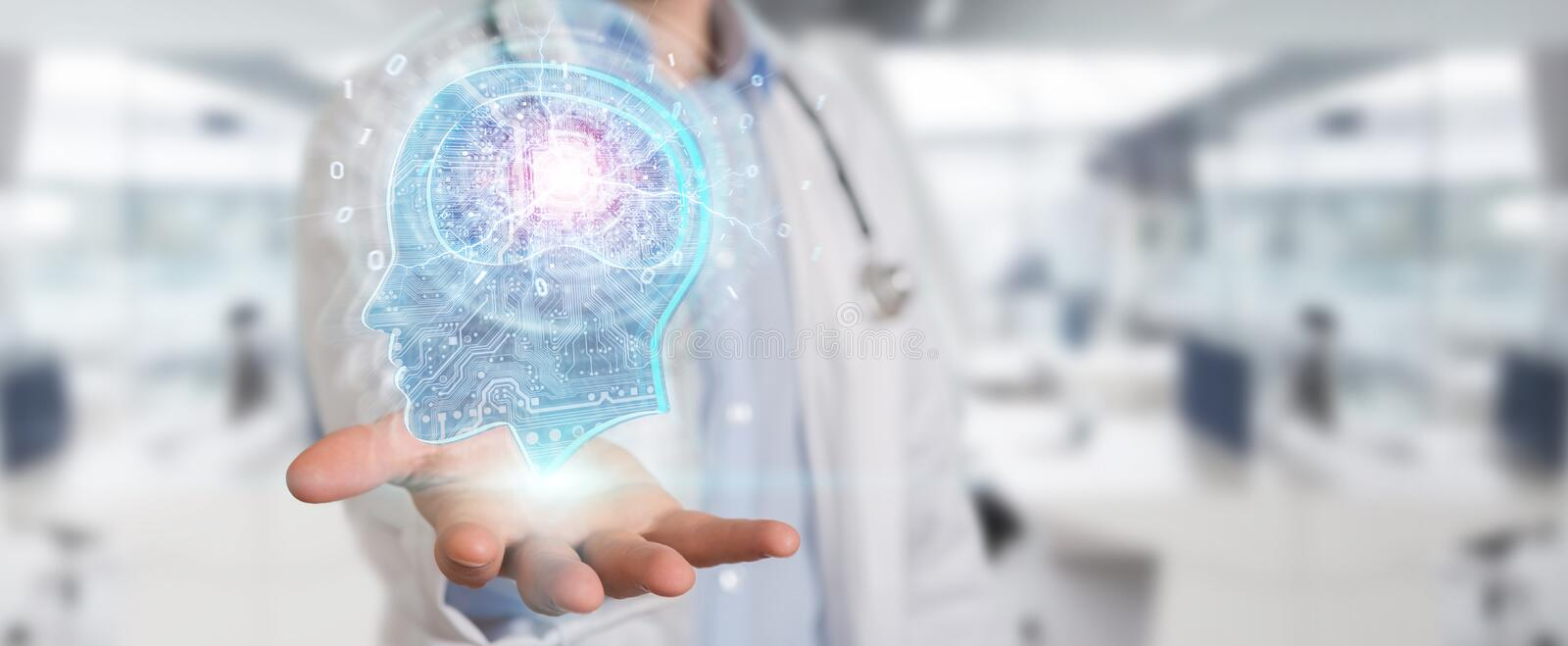 Doctor creating artificial intelligence interface 3D rendering. Doctor on blurred background creating artificial intelligence interface 3D rendering stock illustration