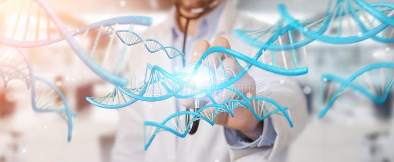 Doctor holding blue digital DNA structure 3D rendering vector illustration