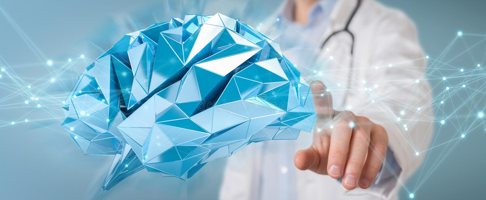 Doctor holding digital brain interface 3D rendering stock illustration
