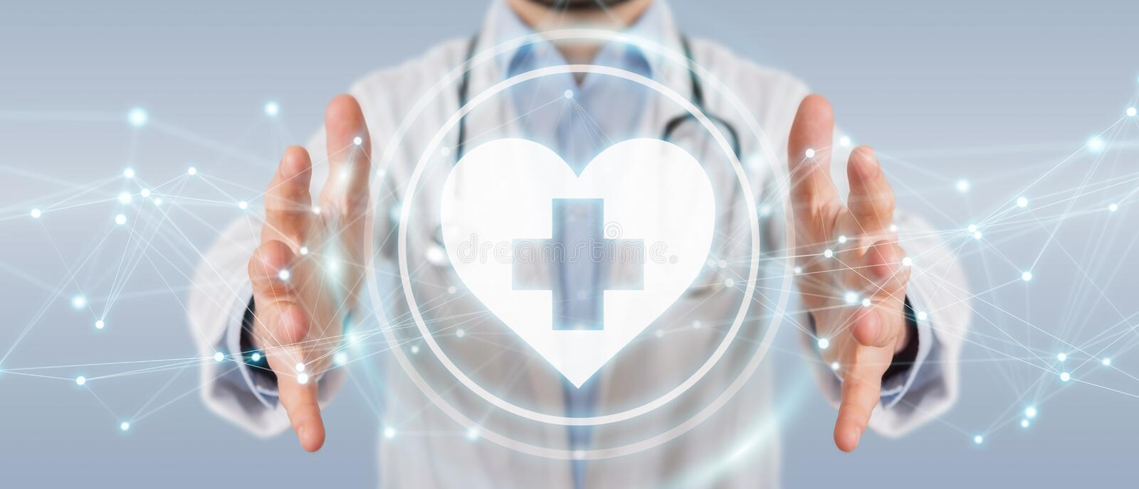 Doctor holding heartbeat digital interface 3D rendering royalty free illustration