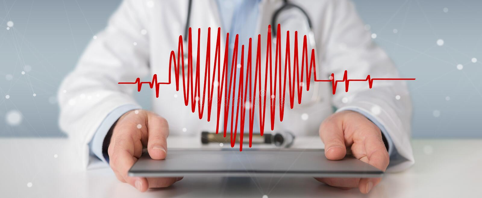 Doctor holding heartbeat digital interface 3D rendering vector illustration