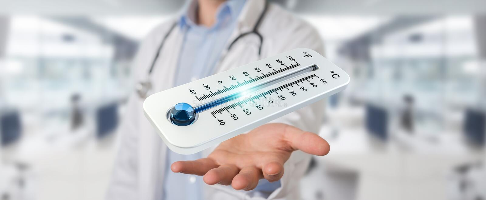 Doctor holding red hot digital thermometer 3D rendering royalty free illustration