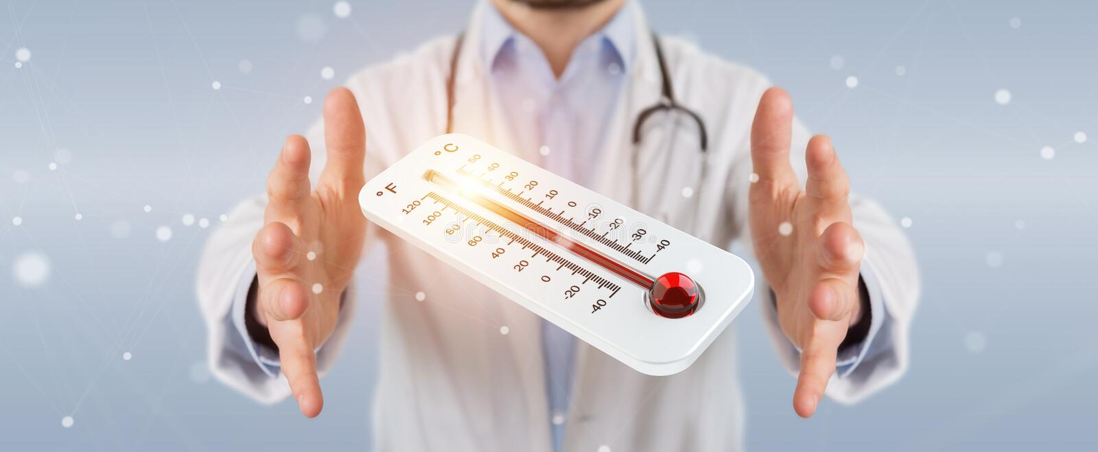 Doctor holding red hot digital thermometer 3D rendering vector illustration