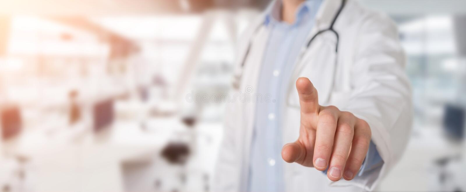Doctor touching virtual interface with his finger vector illustration