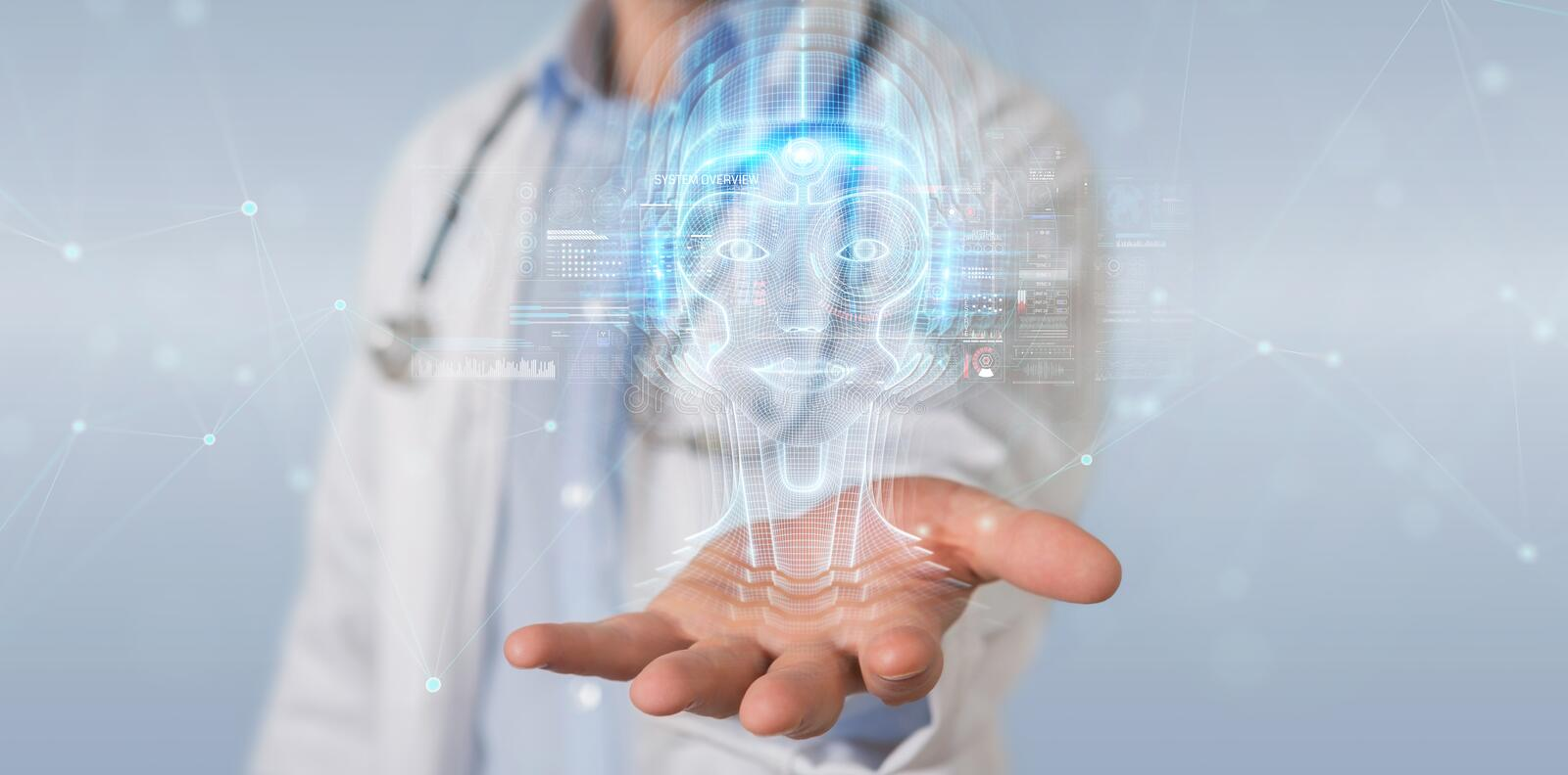 Doctor using digital artificial intelligence head interface 3D rendering. Doctor on blurred background using digital artificial intelligence head interface 3D royalty free illustration