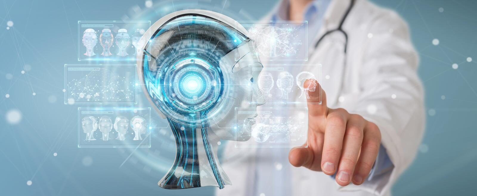 Doctor using digital artificial intelligence interface 3D render. Doctor on blurred background using digital artificial intelligence interface 3D rendering royalty free illustration
