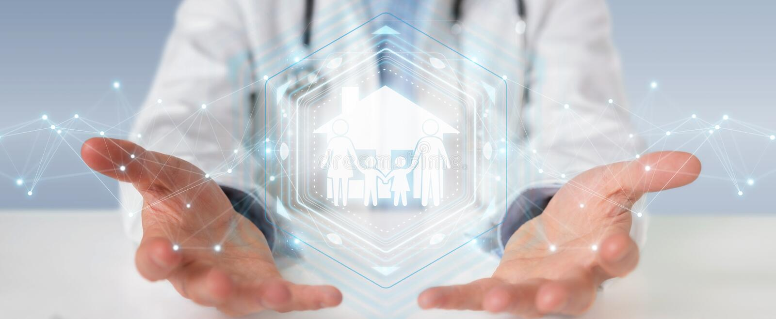 Doctor using digital family care interface 3D rendering. Doctor on blurred background using digital family care interface 3D rendering royalty free illustration