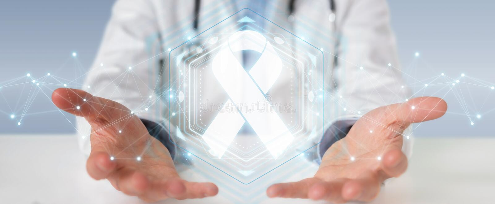 Doctor using digital ribbon cancer interface 3D rendering stock illustration