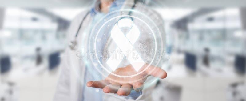 Doctor using digital ribbon cancer interface 3D rendering vector illustration