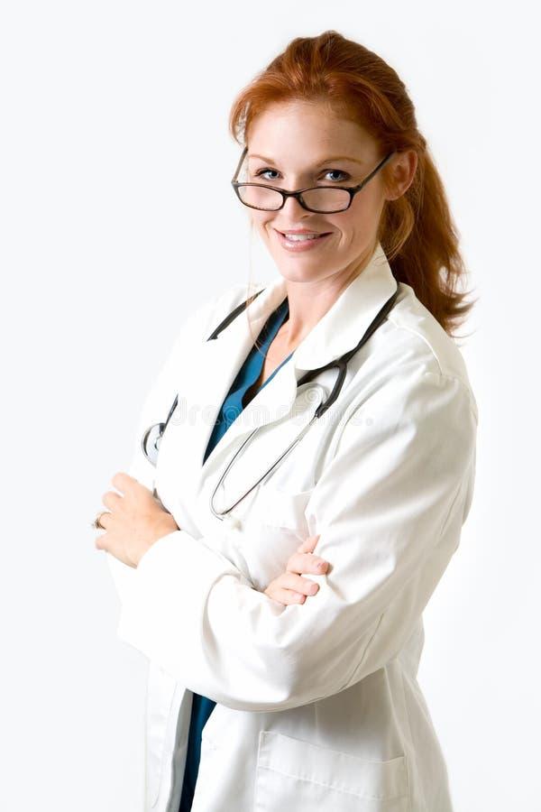 Doctor cómodo de la señora foto de archivo