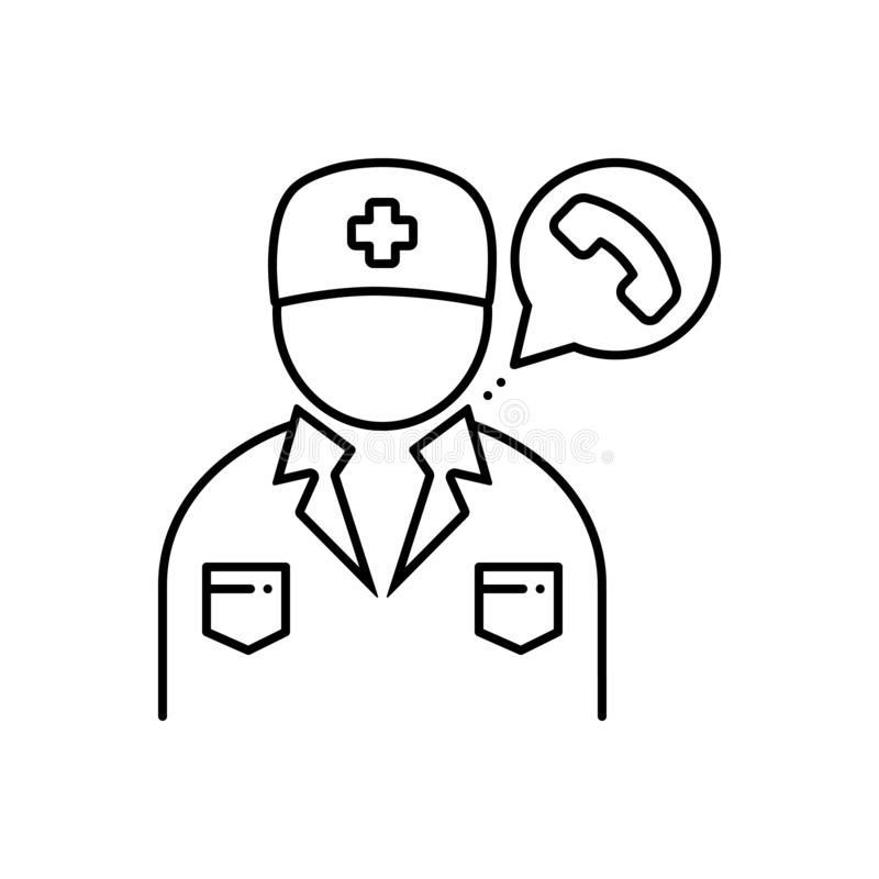 Black line icon for Doctor on call, treatment and telephone royalty free illustration