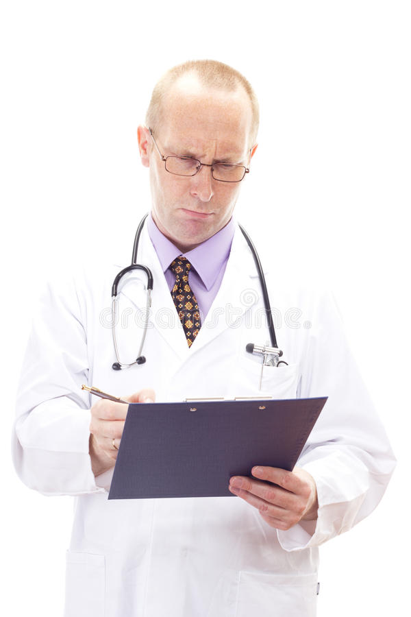 Doctor cannot understand the results of the blood test royalty free stock photography