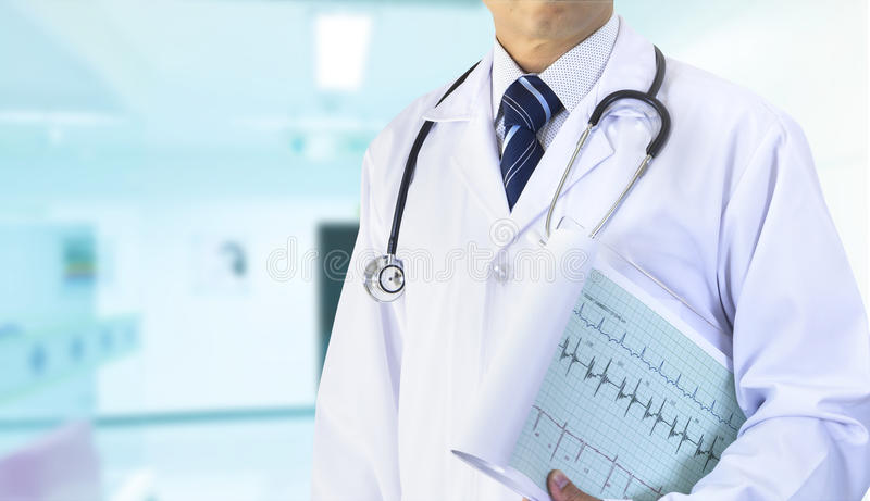Doctor with cardiograph royalty free stock photos