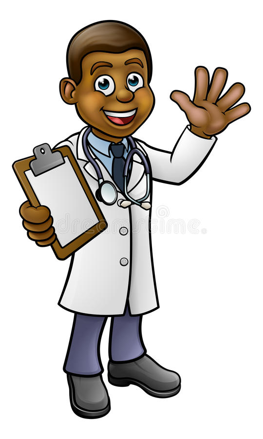Doctor Cartoon Character. A doctor cartoon character holding a clip board and waving stock illustration