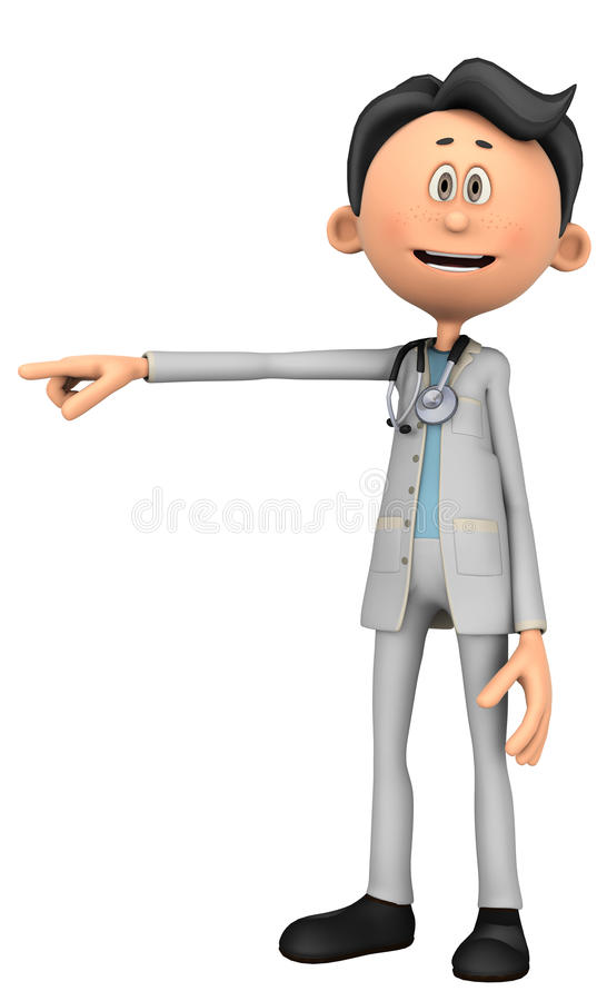 Doctor cartoon pointing. Doctor cartoon to illustrate your medical graphic work stock illustration