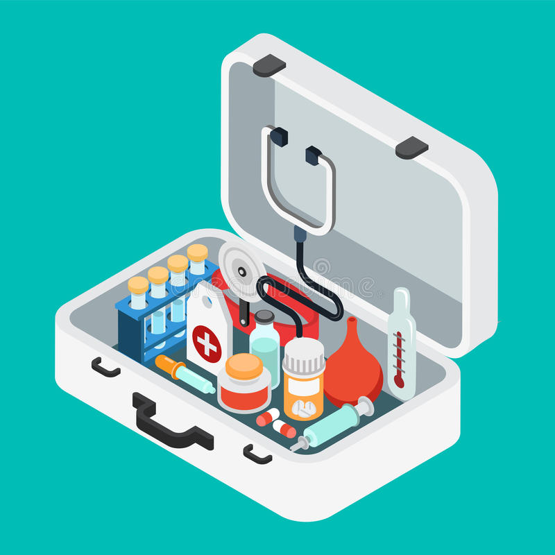 Doctor case first aid kit pill stethoscope flat isometric vector. Flat 3d isometric doctor case first aid kit concept web infographics vector illustration royalty free illustration