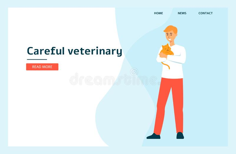 Doctor with a cat in a landing page for a vet clinic flat vector illustration. stock photography
