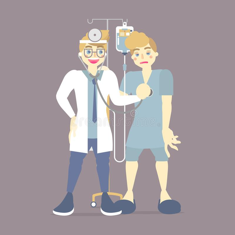 doctor checking, caring measuring blood pressure for patient with IV intravenous, saline bag, health care, medical examination vector illustration