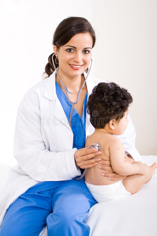 Download Doctor checking child stock image. Image of cheerful, girl - 8182439