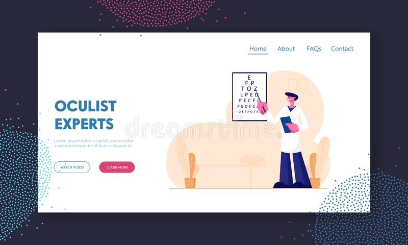 Doctor Checking Eyesight Website Landing Page. Oculist Stand at Vision Test Chart with Pointer Checkup Patient Eye Sight. Professional Optician Exam Web Page stock illustration